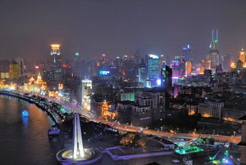 China Shanghai Bund and Puxi aerial night view
