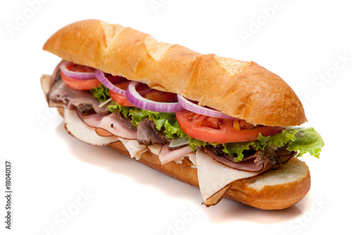 Fotobehang Snack Submarine sandwich on a white background
