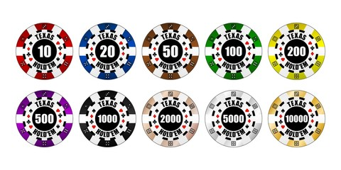 Pokerchips mit Wertung