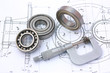 canvas print picture - Ball bearings with micrometer on technical drawing