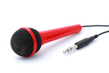 Red Microphone with plug and cable isolated