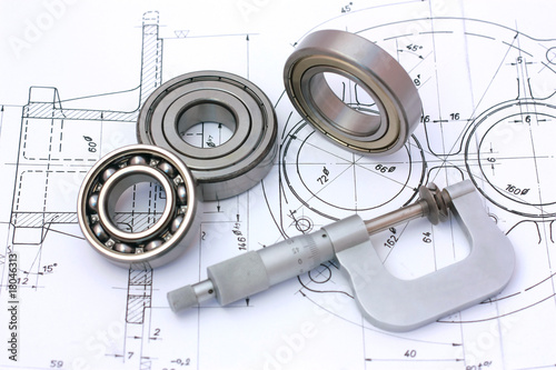 canvas print picture Ball bearings with micrometer on technical drawing