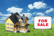 Model house on green grass with for sale sign