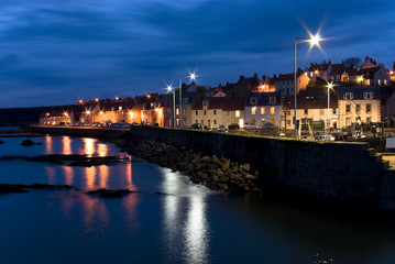 dusk over the picturesque fishing village of Pittenweem;