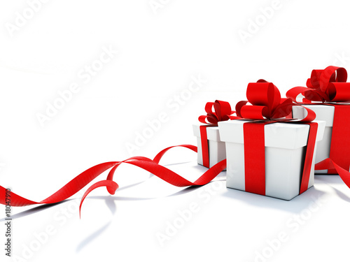 Gifts with red ribbons isolated on white