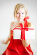 young blondie girl portrait holding a christmas present