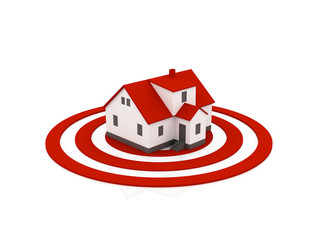 illustration of a house in the center of a target, red color