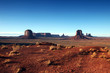 Clear Blue Sky View of Monument Valley