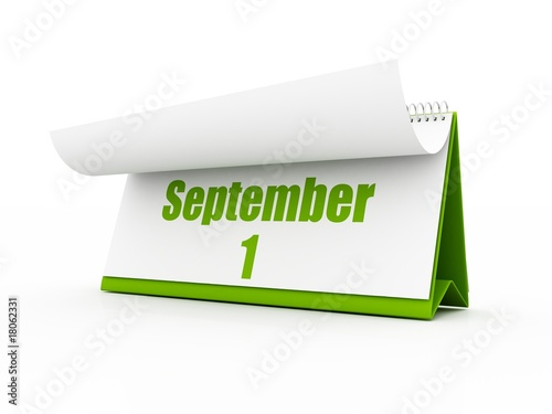 green Calendar, September. white background