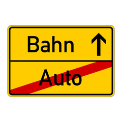 ortsschild - auto - bahn