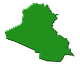 Iraq 3d map with national color