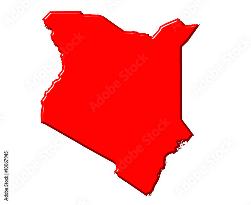 Kenya 3d map with national color