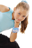 Little girl in blue sportswear poster