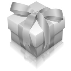 Vector white gift box with ribbon