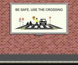 Advertising board with children road safety campaign poster