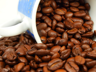 Coffee with beans background