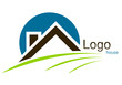 Logo maison rond trait bleu marron vert