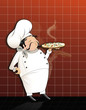 Chef with hot pizza