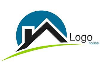 Logo maison rond trait bleu vert gris
