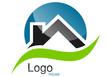Logo maison toit courbe rond bleu vert gris