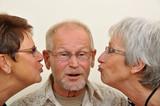 Senior man enjoying affection poster