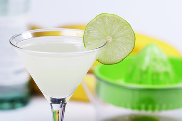 Alcohol cocktail with lime juice