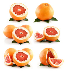 Set of Ripe Grapefruit Fruits Isolated on White