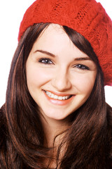 Smiling woman in red hat