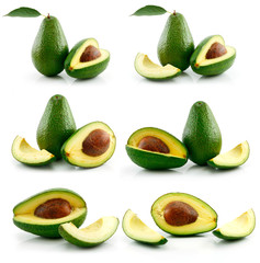 Set of Ripe Sliced Avocado Fruits Isolated on White