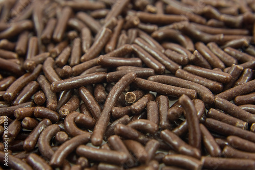 Dutch chocolate sprinkles in closeup