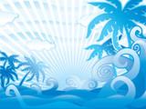 Blue tropical harmonic scene. poster