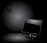 LCD panel with floral background