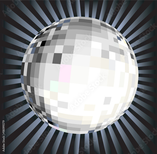 Flashing disco ball vector illustration.