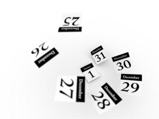 Defocused Calendar pages flying away