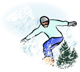 snowboarder in dry chalkcharcoal pencil