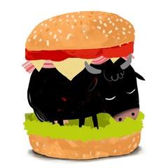 Vaca dentro de una hamburguesa