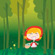 roleta: Little Red Riding Hood alone in the forest. Vector Illustration.