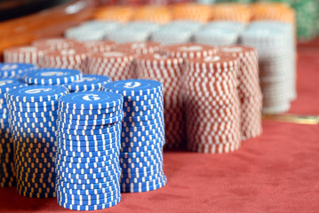 Poker chips in casino