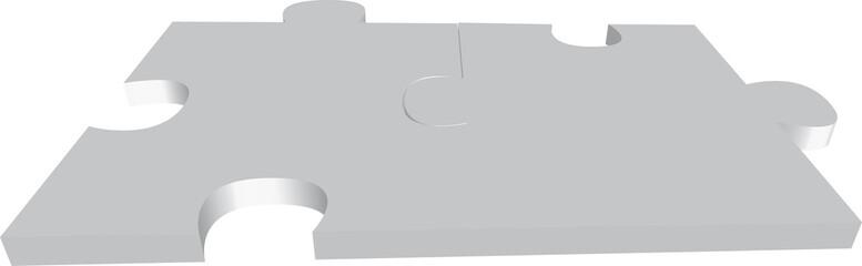 Puzzleteile,passend vor weißem Hintergrund