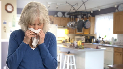 Clip:  senior woman sick with the flu