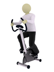 Man on vertical exercise bicycle