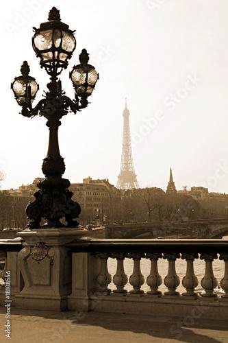 Leinwanddruck Bild Lamppost on the bridge of Alexandre III in Paris, France