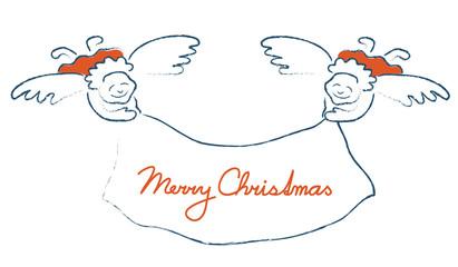 Smiling angels wishing Merry Christmas