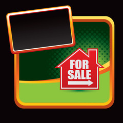 For sale sign on stylized advertisement