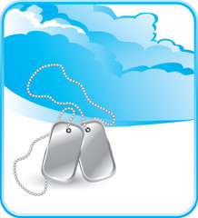 Dog tags on cloud background