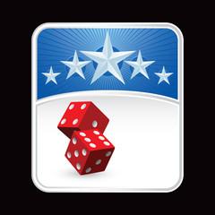 Red dice under blue star background