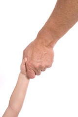 Man grabbing childs hand to help