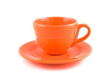 Orange coffee cup with plate