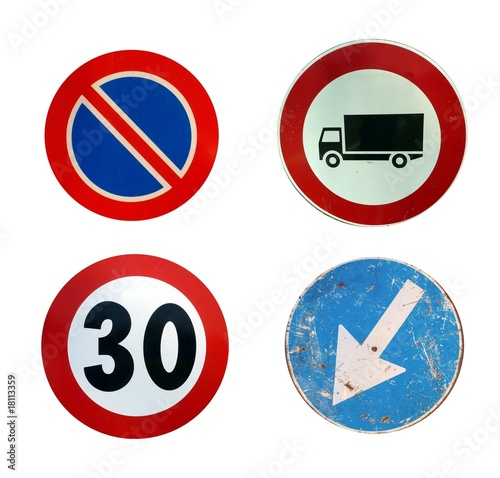 four circular road signs