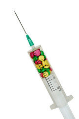 Syringe filled with complex medicine.